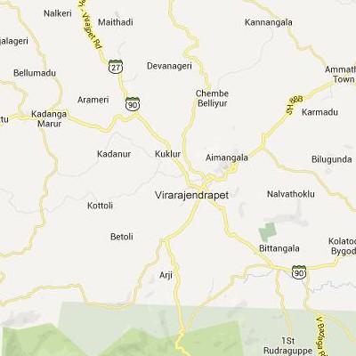 satellite map image of Virarajendrapet( Virarajendrapet,Karnataka ಉಪಗ್ರಹ ನಕ್ಷೆ ಚಿತ್ರ )