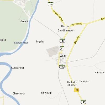 satellite map image of Wadi( Wadi,Karnataka ಉಪಗ್ರಹ ನಕ್ಷೆ ಚಿತ್ರ )