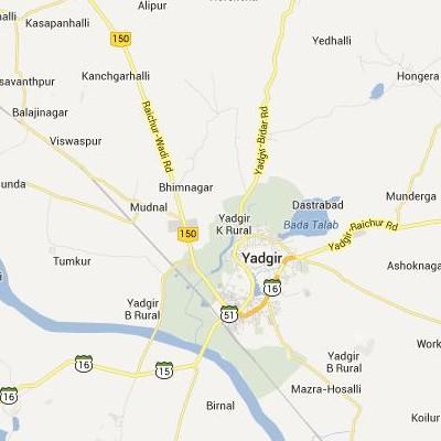 satellite map image of Yadgir( Yadgir,Karnataka ಉಪಗ್ರಹ ನಕ್ಷೆ ಚಿತ್ರ )