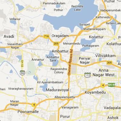 satellite map image of Ambattur( Ambattur,tamilnadu செயற்கைக்கோள் வரைபடம் படம்)