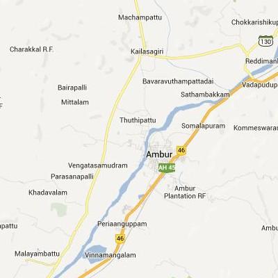 satellite map image of Ambur( Ambur,tamilnadu செயற்கைக்கோள் வரைபடம் படம்)