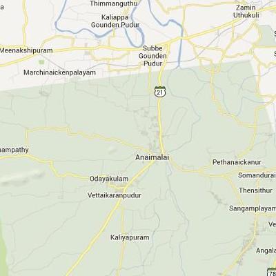 satellite map image of Anaimalai( Anaimalai,tamilnadu செயற்கைக்கோள் வரைபடம் படம்)