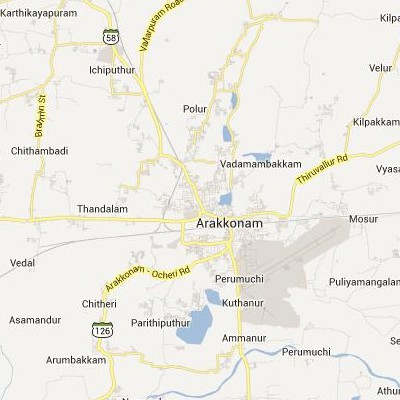 satellite map image of Arakkonam( Arakkonam,tamilnadu செயற்கைக்கோள் வரைபடம் படம்)