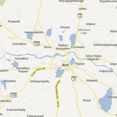 satellite map image of Arani( Arani,tamilnadu செயற்கைக்கோள் வரைபடம் படம்)