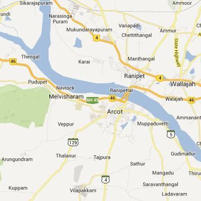 satellite map image of Arcot( Arcot,tamilnadu செயற்கைக்கோள் வரைபடம் படம்)