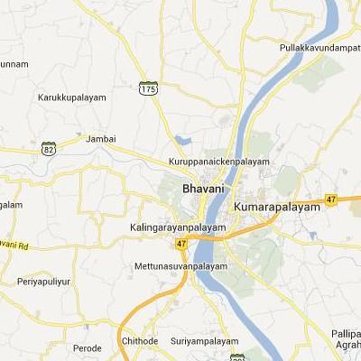 satellite map image of Bhavani( Bhavani,tamilnadu செயற்கைக்கோள் வரைபடம் படம்)
