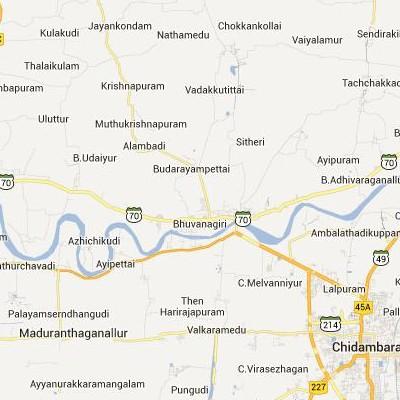 satellite map image of Bhuvanagiri( Bhuvanagiri,tamilnadu செயற்கைக்கோள் வரைபடம் படம்)