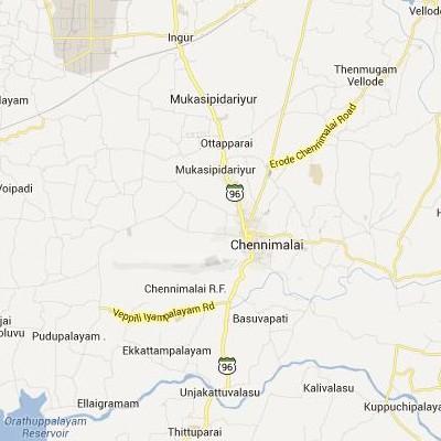 satellite map image of Chennimalai( Chennimalai,tamilnadu செயற்கைக்கோள் வரைபடம் படம்)