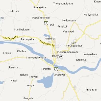 satellite map image of Cheyyar( Cheyyar,tamilnadu செயற்கைக்கோள் வரைபடம் படம்)