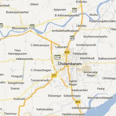 satellite map image of Chidambaram( Chidambaram,tamilnadu செயற்கைக்கோள் வரைபடம் படம்)