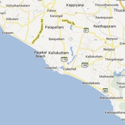 satellite map image of Colachel( Colachel,tamilnadu செயற்கைக்கோள் வரைபடம் படம்)