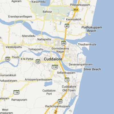 satellite map image of Cuddalore( Cuddalore,tamilnadu செயற்கைக்கோள் வரைபடம் படம்)