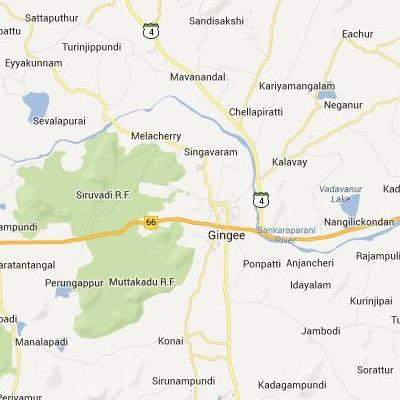 satellite map image of Gingee( Gingee,tamilnadu செயற்கைக்கோள் வரைபடம் படம்)