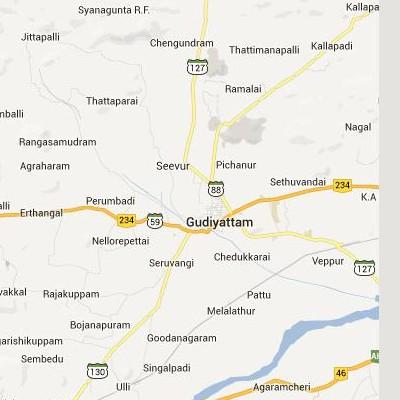 satellite map image of Gudiyatham( Gudiyatham,tamilnadu செயற்கைக்கோள் வரைபடம் படம்)