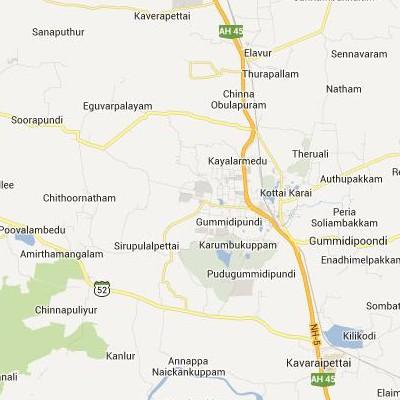 satellite map image of Gummidipundi( Gummidipundi,tamilnadu செயற்கைக்கோள் வரைபடம் படம்)