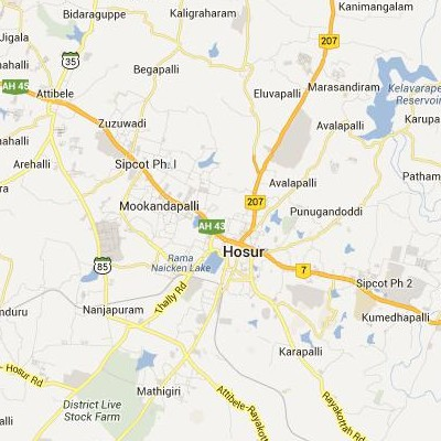 satellite map image of Hosur( Hosur,tamilnadu செயற்கைக்கோள் வரைபடம் படம்)
