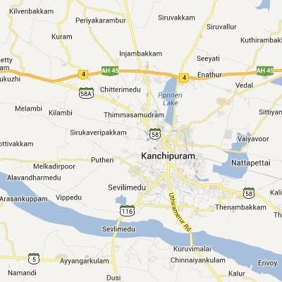 satellite map image of Kanchipuram( Kanchipuram,tamilnadu செயற்கைக்கோள் வரைபடம் படம்)