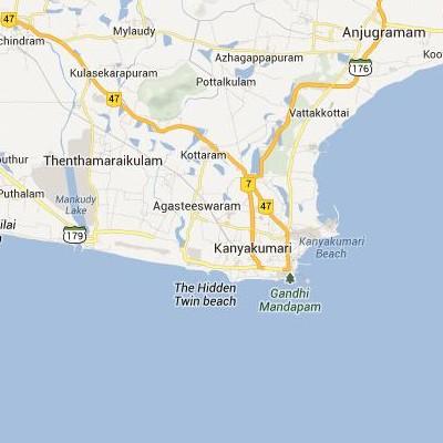 satellite map image of Kanniyakumari( Kanniyakumari,tamilnadu செயற்கைக்கோள் வரைபடம் படம்)