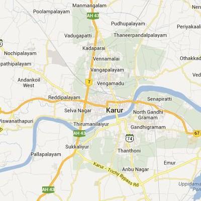 satellite map image of Karur( Karur,tamilnadu செயற்கைக்கோள் வரைபடம் படம்)