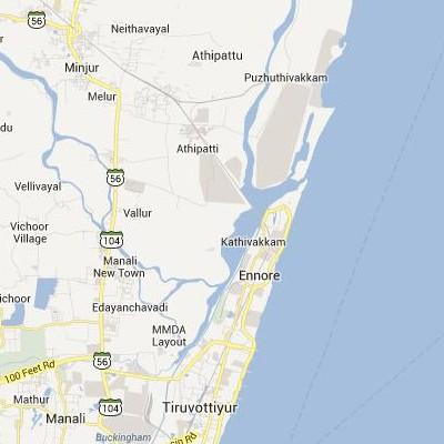 satellite map image of Kattivakkam( Kattivakkam,tamilnadu செயற்கைக்கோள் வரைபடம் படம்)
