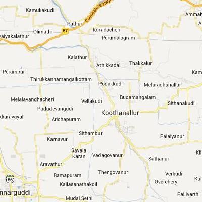 satellite map image of Koothanallur( Koothanallur,tamilnadu செயற்கைக்கோள் வரைபடம் படம்)