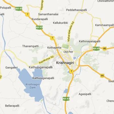 satellite map image of Krishnagiri( Krishnagiri,tamilnadu செயற்கைக்கோள் வரைபடம் படம்)