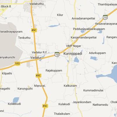 satellite map image of Kurinjippadi( Kurinjippadi,tamilnadu செயற்கைக்கோள் வரைபடம் படம்)