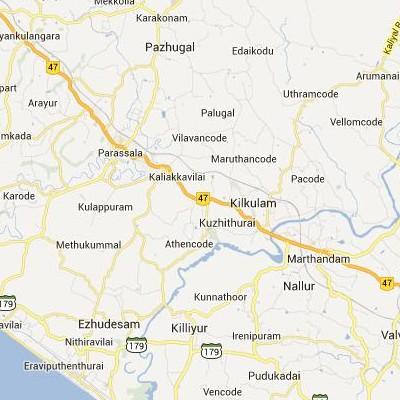 satellite map image of Kuzhithurai( Kuzhithurai,tamilnadu செயற்கைக்கோள் வரைபடம் படம்)