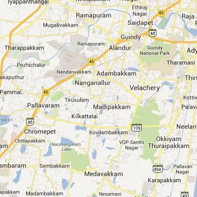 satellite map image of Madipakkam( Madipakkam,tamilnadu செயற்கைக்கோள் வரைபடம் படம்)