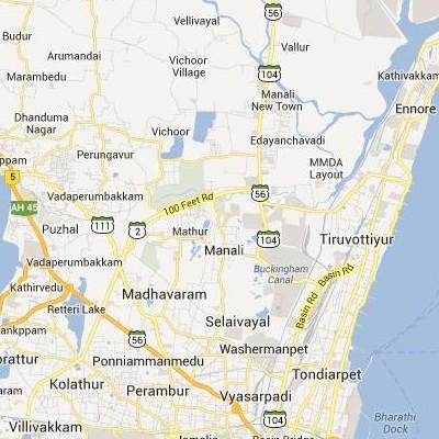 satellite map image of Manali( Manali,tamilnadu செயற்கைக்கோள் வரைபடம் படம்)