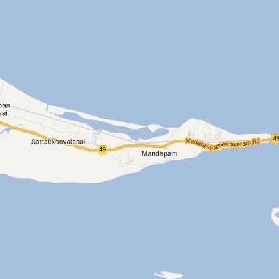 satellite map image of Mandapam( Mandapam,tamilnadu செயற்கைக்கோள் வரைபடம் படம்)