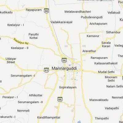 satellite map image of Mannargudi( Mannargudi,tamilnadu செயற்கைக்கோள் வரைபடம் படம்)