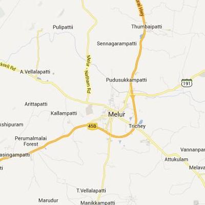 satellite map image of Melur( Melur,tamilnadu செயற்கைக்கோள் வரைபடம் படம்)