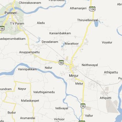 satellite map image of Minjur( Minjur,tamilnadu செயற்கைக்கோள் வரைபடம் படம்)
