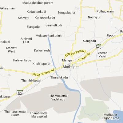 satellite map image of Muttupet( Muttupet,tamilnadu செயற்கைக்கோள் வரைபடம் படம்)