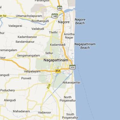 satellite map image of Nagappattinam( Nagappattinam,tamilnadu செயற்கைக்கோள் வரைபடம் படம்)