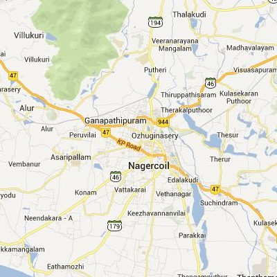 satellite map image of Nagercoil( Nagercoil,tamilnadu செயற்கைக்கோள் வரைபடம் படம்)