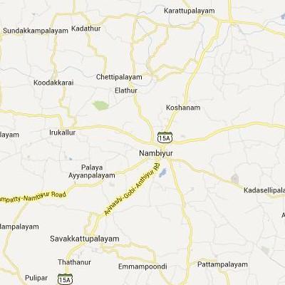 satellite map image of Nambiyur( Nambiyur,tamilnadu செயற்கைக்கோள் வரைபடம் படம்)