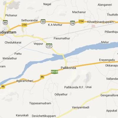 satellite map image of Pallikondai( Pallikondai,tamilnadu செயற்கைக்கோள் வரைபடம் படம்)