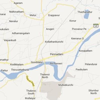 satellite map image of Pennadam( Pennadam,tamilnadu செயற்கைக்கோள் வரைபடம் படம்)