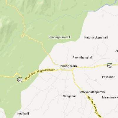 satellite map image of Pennagaram( Pennagaram,tamilnadu செயற்கைக்கோள் வரைபடம் படம்)