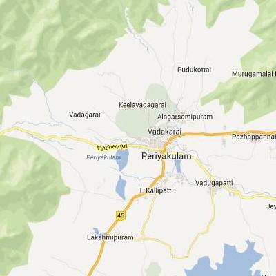 satellite map image of Periyakulam( Periyakulam,tamilnadu செயற்கைக்கோள் வரைபடம் படம்)