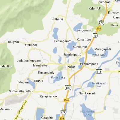 satellite map image of Polur( Polur,tamilnadu செயற்கைக்கோள் வரைபடம் படம்)