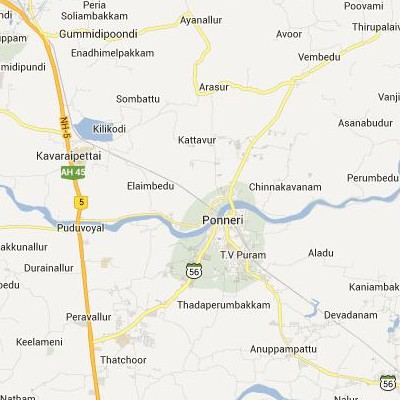 satellite map image of Ponneri( Ponneri,tamilnadu செயற்கைக்கோள் வரைபடம் படம்)