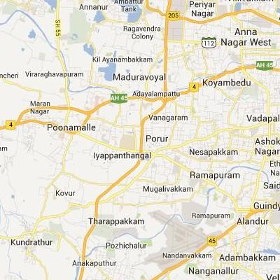 satellite map image of Porur( Porur,tamilnadu செயற்கைக்கோள் வரைபடம் படம்)