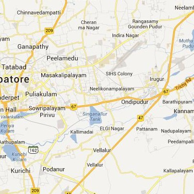 satellite map image of Singanallur( Singanallur,tamilnadu செயற்கைக்கோள் வரைபடம் படம்)
