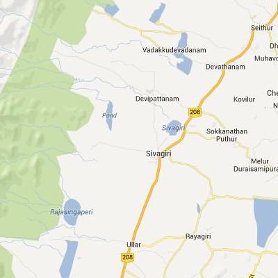 satellite map image of Sivagiri( Sivagiri,tamilnadu செயற்கைக்கோள் வரைபடம் படம்)