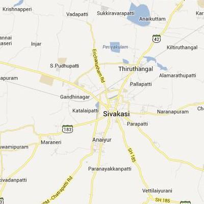 satellite map image of Sivakasi( Sivakasi,tamilnadu செயற்கைக்கோள் வரைபடம் படம்)