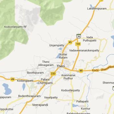 satellite map image of Teni( Teni,tamilnadu செயற்கைக்கோள் வரைபடம் படம்)