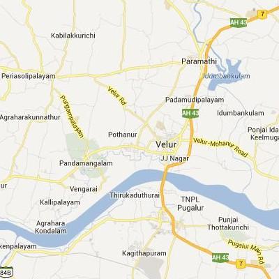 satellite map image of Velur( Velur,tamilnadu செயற்கைக்கோள் வரைபடம் படம்)